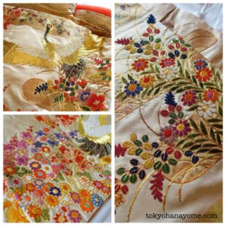 神前挙式婚礼和装の色打掛自宅試着の画像